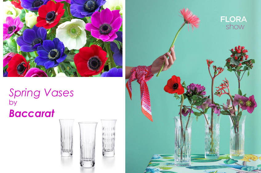 Spring blossom with Baccarat vases